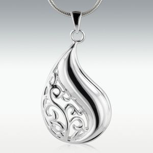 Filigree Tear Sterling Silver Cremation Jewelry - Engravable