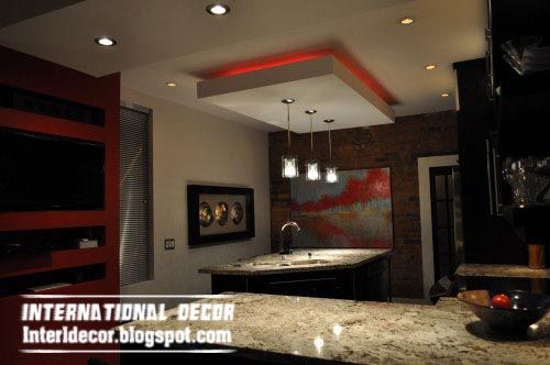 Gibson Board Ceiling Suspended False Design For Modern Kitchen With Red  Lights | Ceiling Design | Pinterest | Kitchen Ceiling Design, Kitchen  Ceilings And ...