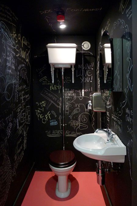 Chalkboard paint bathroom    This would be neat for our future teenagers when they have friends over - game room bathroom. I think they'd enjoy it - monitered of course!.....NEED IN NEW HOUSE!