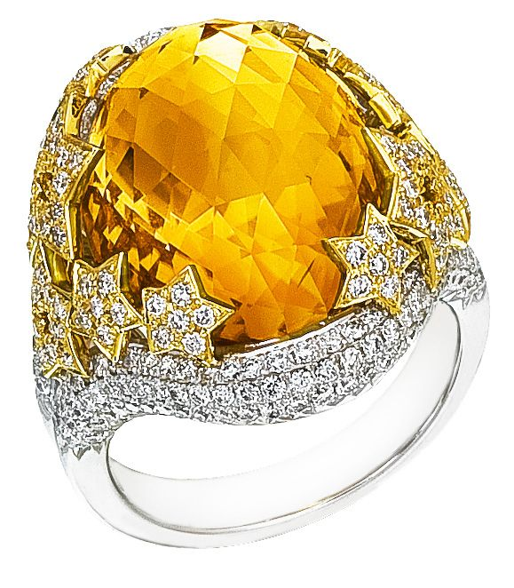 Diamond Ring, .40 Carat Diamonds 1.52 Carat Zirconia on 14K White & Yellow Gold