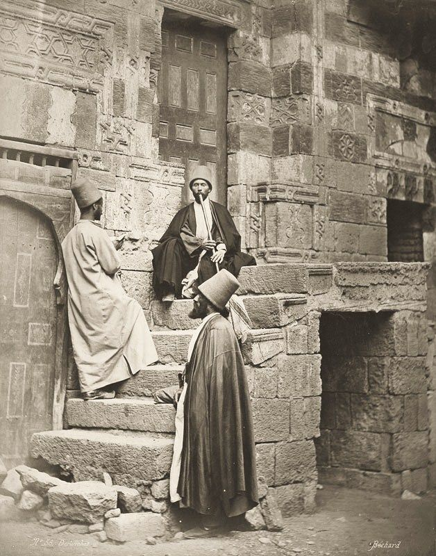 Albumen print showing Dervishes in Egypt.  Photographed by Henri or Émile Béchard in the 1870's