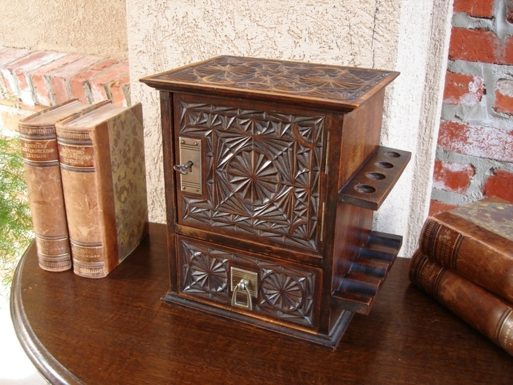 Antique english chip carved oak pipe humidor smoke cabinet