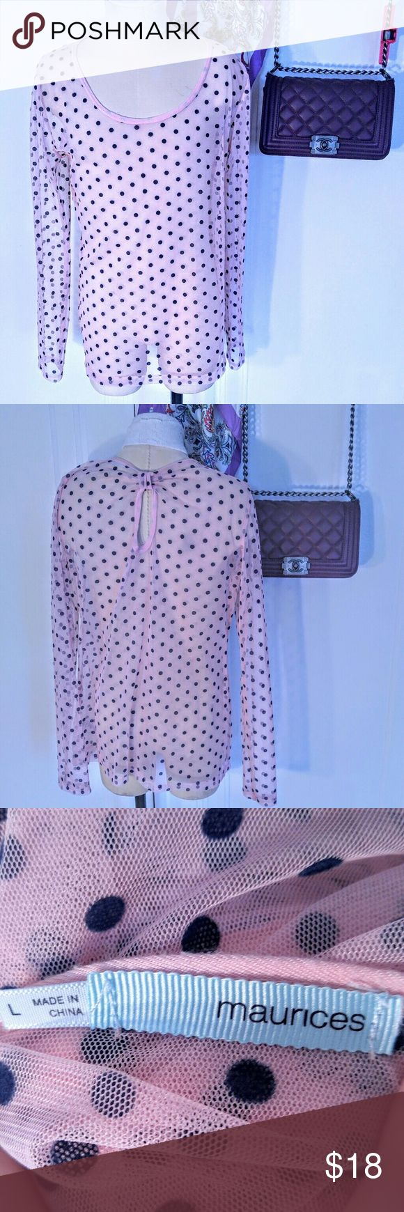 Sheer Polka Dot Long Sleeve Bow Back Shirt Sheer Polka Dot Long Sleeve Bow Back Shirt Maurices top size L in excellent condition. Maurices Tops Tees - Long Sleeve