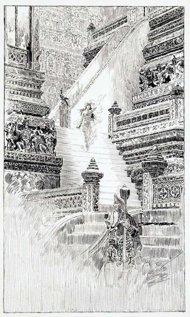 Original frontispiece illustration by Joseph Clement Coll from Guns of the Gods, by Talbot Mundy, 1921