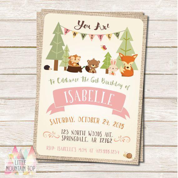 Woodland Birthday Invitation - Woodland Animal - Fox, Hedgehog, Squirrel…