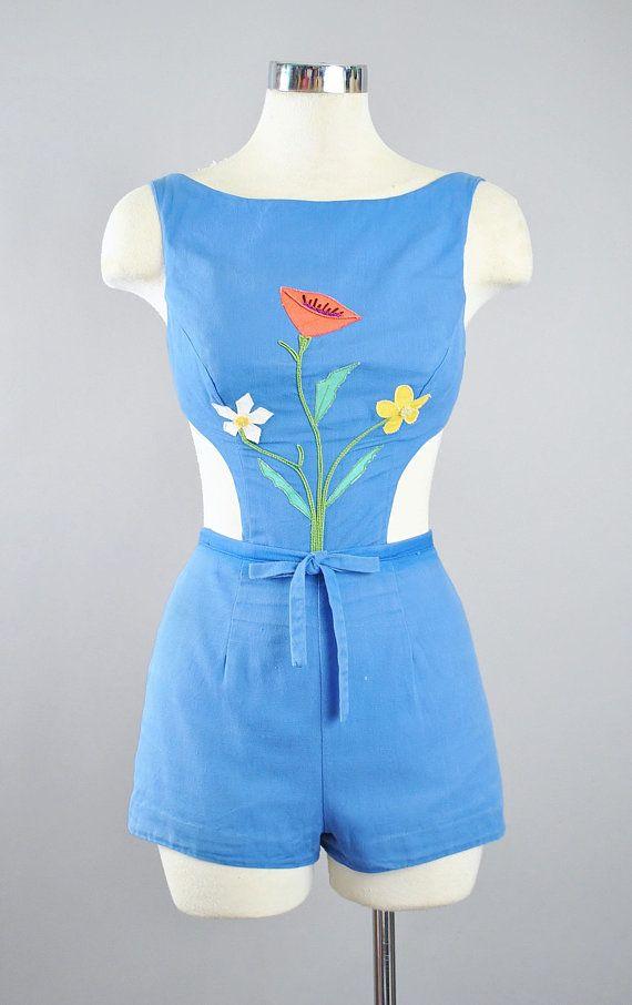 6074ab2dd4 Vintage Rose Marie Reid 50s Romper Playsuit   1950s Monokini CUT OUT ...