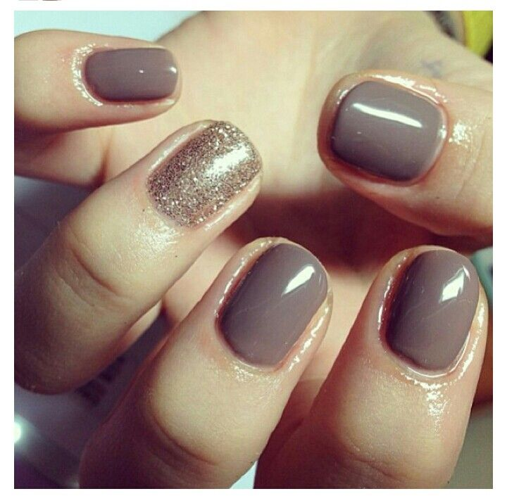CND shellac - rubble with a glitter feature nail