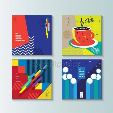 Pop Art brochure cover modern design, template, set. Futuristic abstract cover, poster, wallpaper, flyer. Exhibition catalog background. Vector. Abstract geometric dynamic shapes, lines. Memphis style. Graphic concept layout brochure covers logo