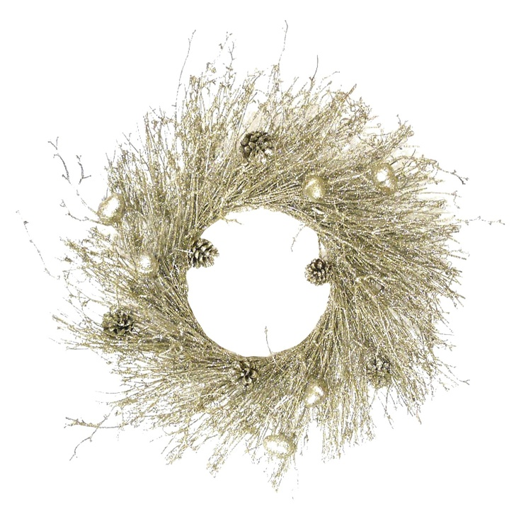Instead of decorating your home with black and orange for #Halloween, reach for a wreath with glittery twigs, shiny acorns and tiny pine cones in matching shades of gold. #Target #Decorations