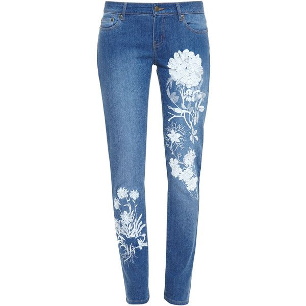 ALICE ARCHER Embroidered Skinny Jeans (£450) ❤ liked on Polyvore featuring jeans, flower print jeans, blue skinny jeans, denim skinny jeans, floral printed jeans and 5 pocket jeans