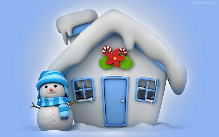 Grafika, Boże Narodzenie, Ośnieżony, Domek, Bałwan