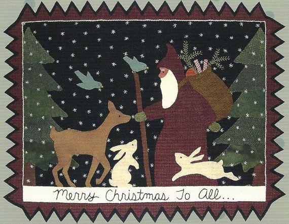 Primitive Folk Art Wool Applique Pattern  MERRY by PrimFolkArtShop, $8.75