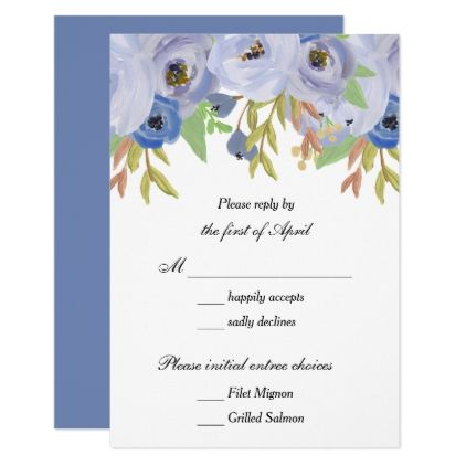 #This Painted Autumn Flowers in Blue Wedding Reply Card - #weddinginvitations #wedding #invitations #party #card #cards #invitation #fall