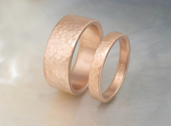 handmade wedding ring set 8mm and 3mm hammered rose gold wedding bands his and hers - Handmade Wedding Rings