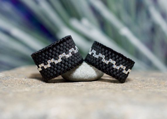 PEYOTE RING  Little Black Dress by PeyoteRings on Etsy