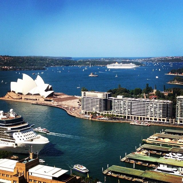 Sydney's beautiful harbour sparkling in the Autumn sunshine.  This was taken from the Shangri La Hotel, Sydney.  Photo by Milton Bed and Breakfast