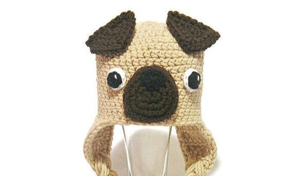 Pug Hat Newborn Pug Hat Kids Pug Hat Toddler by DeesCozyCreations