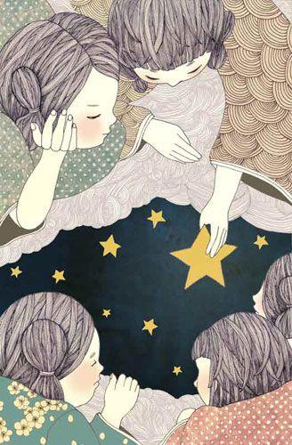 Yoko Furusho: Children living on the clouds. Living on the clouds allows you to discover the stars.