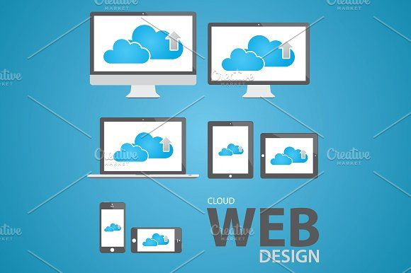 Cloud computing web design icon set by Infographic Template Shop on @creativemarket