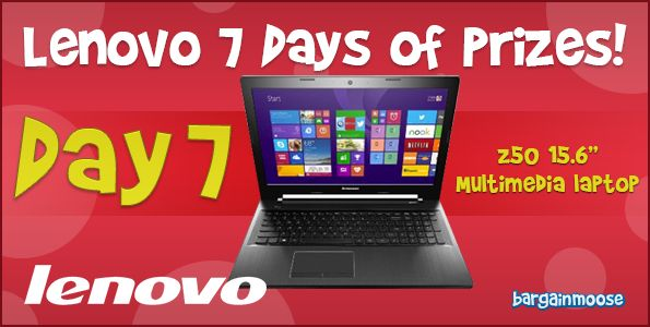 Lenovo 7 Days of Prizes – Final Day! Win a Z50 Laptop @bargainmoose http://www.bargainmoose.ca/lenovo-7-days-of-prizes-final-day-win-a-z50-laptop