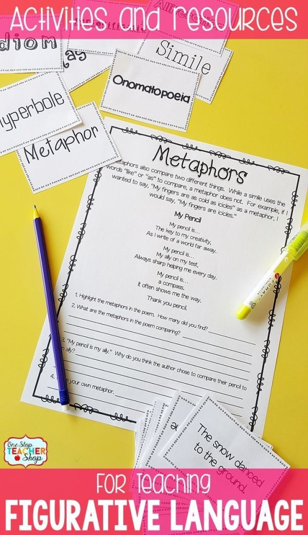Figurative Language anchor chart, practice activities, PowerPoint, game and test. Covers similes, metaphors, idioms, hyperboles, imagery, personification, onomatopoeias, & alliteration. by deann