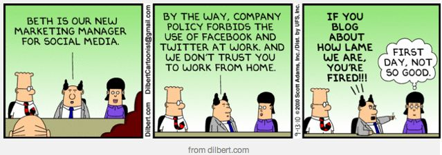 Dilbert comic on Social Media