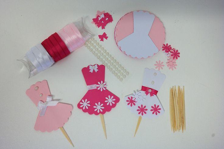 """DIY+-+Kit+fai+da+te+cupcake+topper+""""Pink+Girls""""+di+PaperLoveFantasy+su+DaWanda.com"""
