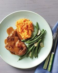 Chili-Braised Pork with Green Beans and Mashed Sweet Potatoes | Recipe