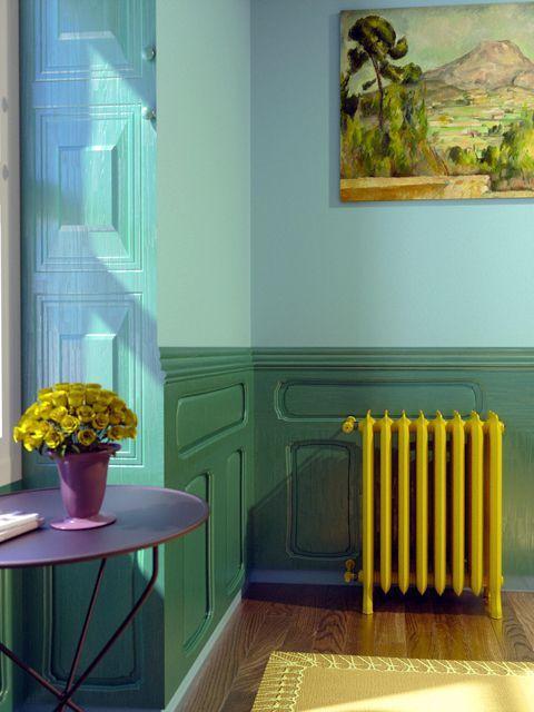 coloured cast iron radiators, modern cast iron radiators, yellow radiators,