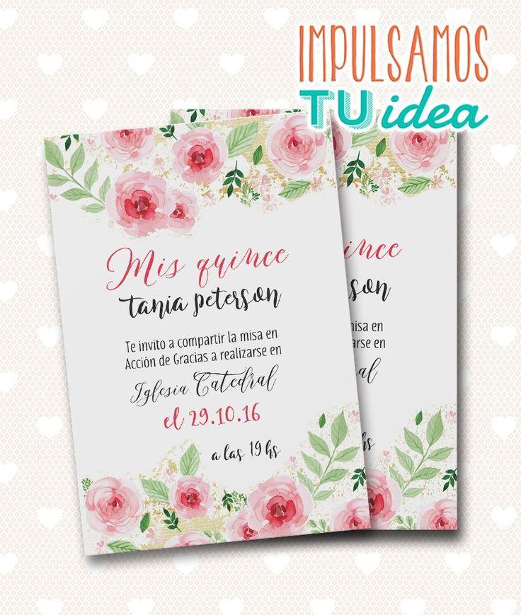 Tarjeta de 15 - Invitación de quince con flores para imprimir