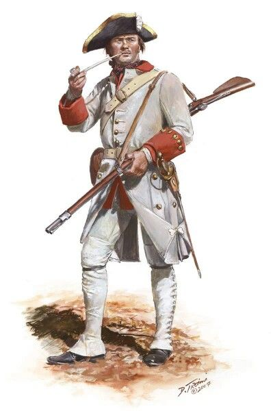 Fusilier of the French Berry Regiment circa 1758, by Don Troiani.