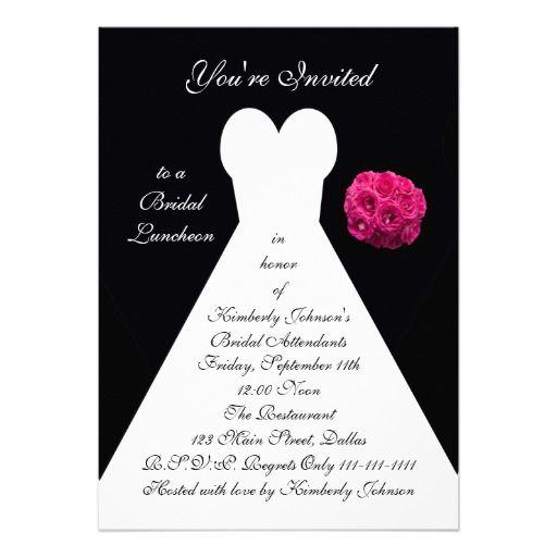 Bridal Luncheon Invitation -- Bridal Gown on Black