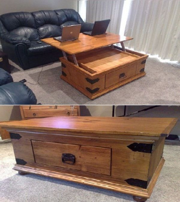 DIY Turner Lift Top Coffee Table. Ofcourse, I would make it in a much more modern design. Just pinned this for the mechanical part :)