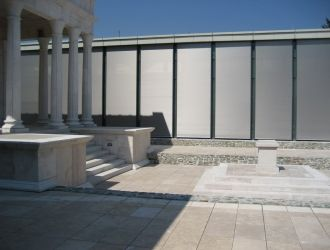 Iseum Savariense Régészeti Műhely és Tárház,Szombathely, #árnyékolók, #építészet, #acél, #homlokzat