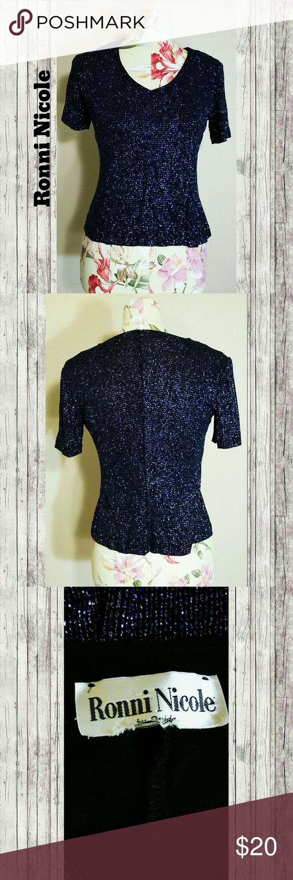 Vintage Galaxy Top A lovely sparkly blouse in a midnight blue color. No major visible flaws. Tags: vintage sparkle night out glam dressy Ronni Nicole Tops Blouses
