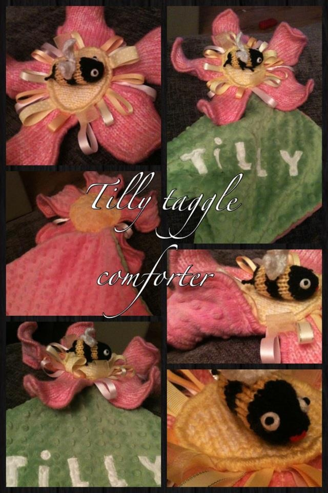 Personalised, handmade,sensory, Baby comforter with a rattle inside :-) xx
