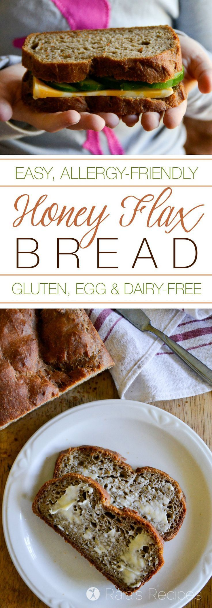 """This gluten, egg, and dairy-free Honey Flax Bread has a great texture and a light flavor. My hubby even likes it more than """"regular"""" bread!   RaiasRecipes.com"""