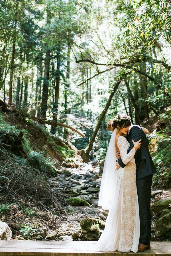Dreamy forest wedding portrait | Image by Seth & Kaiti Photography