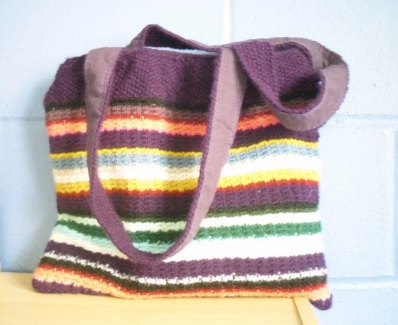 Hand Knitted Tote Bag Multi Coloured Bright Handbag by Kezylou, £30.00