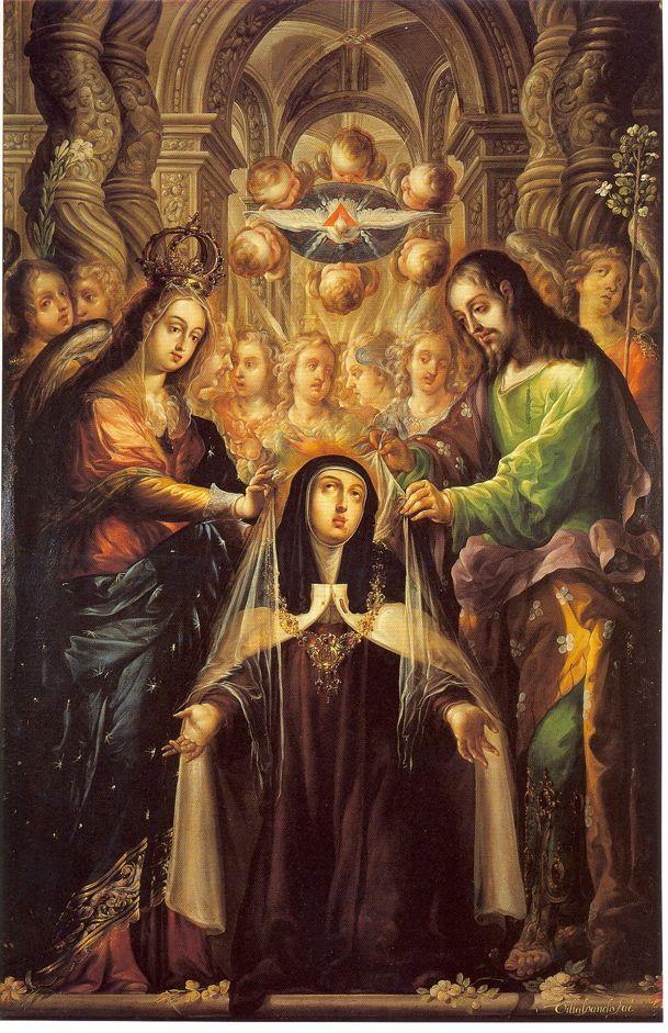 therurrjurr:  St. Teresa of Avila Receives the Veil and Necklace from the Virgin and St. Joseph by Cristóbal de Villalpando