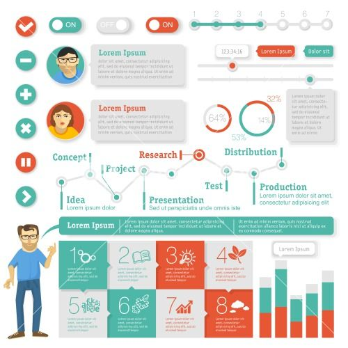 Flat Interface Design Element Set. Vector Infographic Template. Stock Image