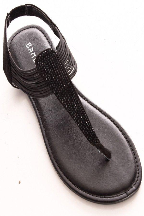 0e14466e2d6bfd BLACK RHINESTONE DESIGN SLIP ON CASUAL SANDAL