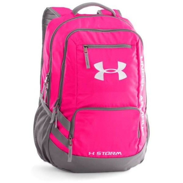 Under Armour Tropic Pink Hustle Backpack Ii (74 CAD) ❤ liked on Polyvore featuring bags, backpacks, tropic pink, laptop rucksack, pink laptop bag, laptop bag, padded backpack and pocket backpack
