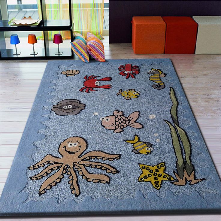 Indoor Outdoor Rug Blue Patterned Area Rug For Kids