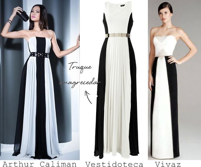 Vestido de festa preto e branco ( com truque emagrecedor)