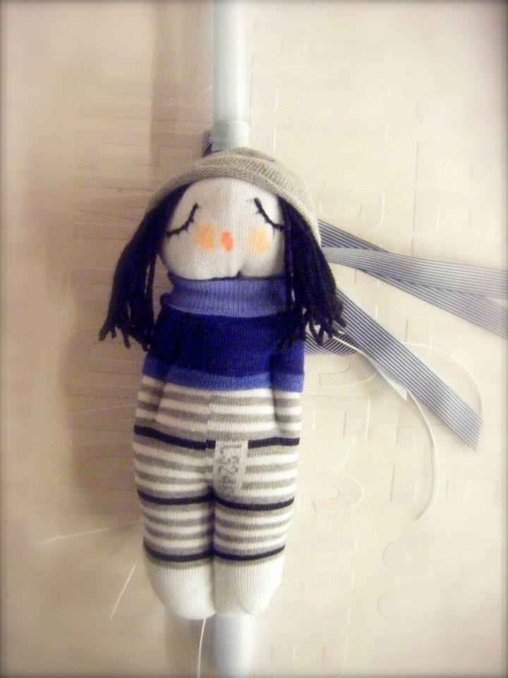 λαμπάδα - χειροποίητη κούκλα από κάλτσα…σε πολλούς συνδυασμούς χρωμάτων και στυλ.