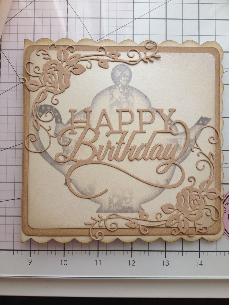 Birthday card made using tattered lace die and tonic sentiment die. Image is from Docrafts