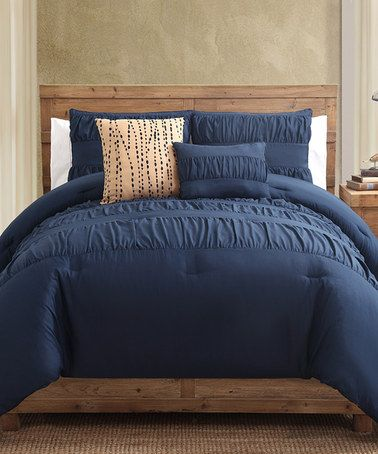 Navy Comforter Set by Victoria Classics #zulily #zulilyfinds. Navy bedding