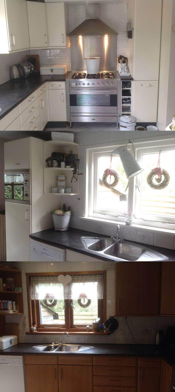 Beuken fineer keuken geschilderd met Annie Sloan original white. Zo mooi geworden. Groetjes Marieken