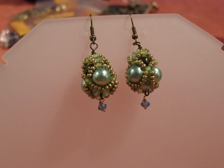 Glass Earrings – Light green beaded drop earrings – a unique product by DarkEyedJewels on DaWanda